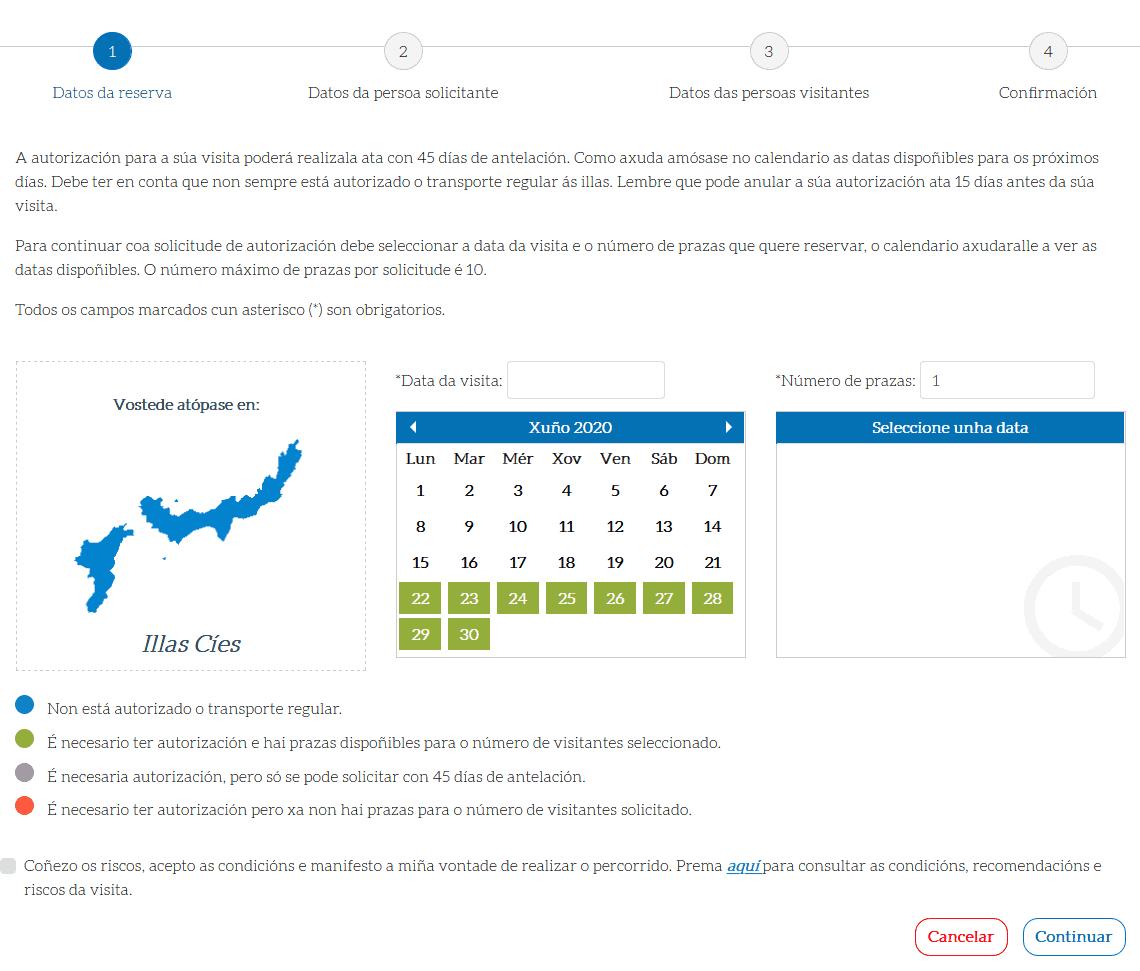 Página de la Xunta de Galicia. Autorización Islas Cíes