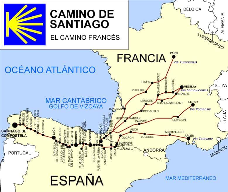 Mapa del Camino de Santiago Francés y sus variantes