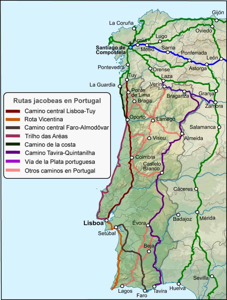 Mapa del Camino de Santiago Portugués y sus variantes.