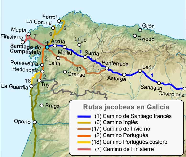 Mapa del Camino de Santiago en Galicia y sus Variantes