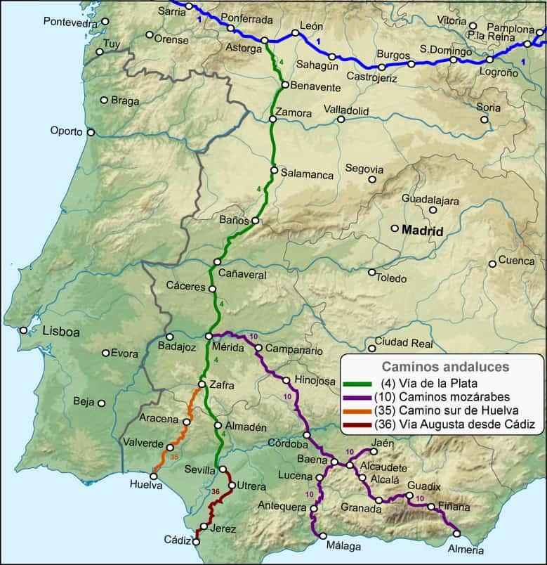 Mapa del Los Caminos de Santiago Andaluces y sus variantes.