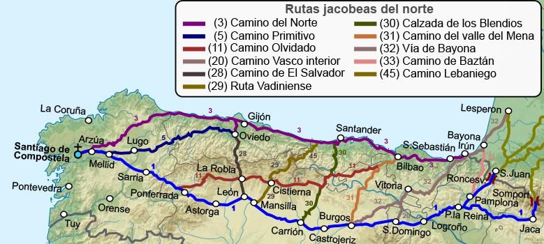 Mapa del Camino de Santiago del Norte de España y sus variantes