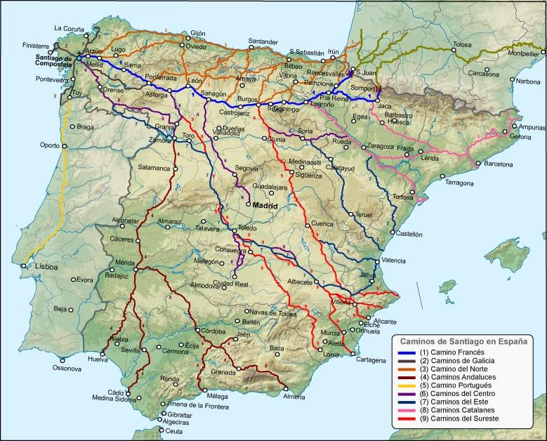 Los Caminos de Santiago en España. Todas las Variantes.
