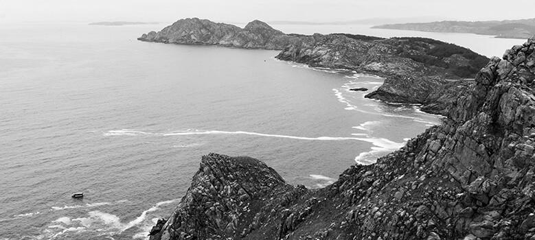 Las Islas Cíes, Galicia. Foto en blanco y negro
