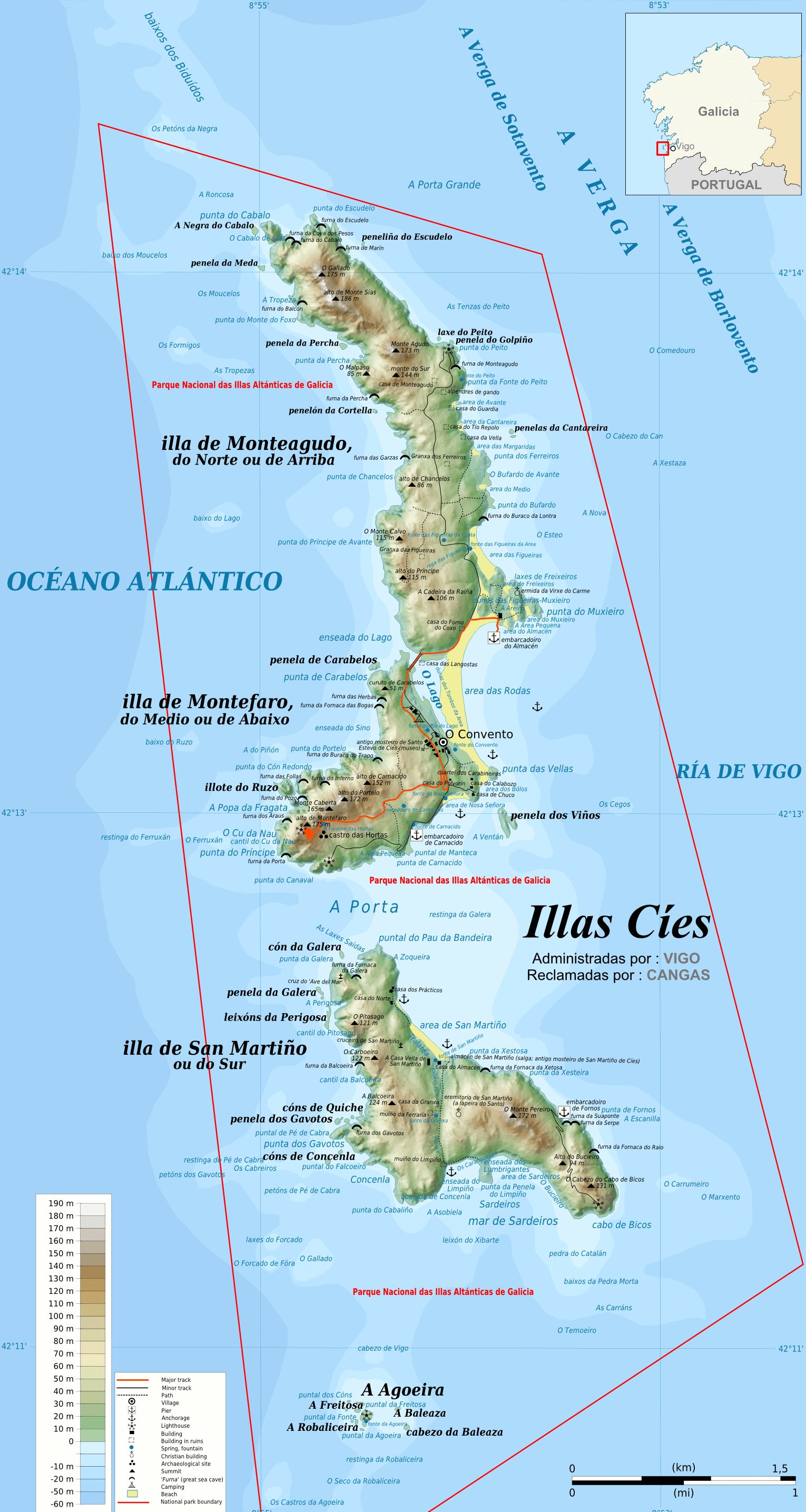 Mapa de las Islas Cíes Completo