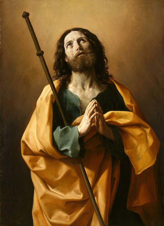 Santiago el Mayor - Guido Reni, circa 1636 - circa 1638. La obra representa a Santiago el Mayor, hermano de san Juan, uno de los apóstoles más cercanos a Cristo. Óleo sobre Lienzo