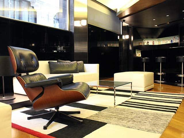 Stylish furniture in the Inffinit Hotel lobby in Vigo